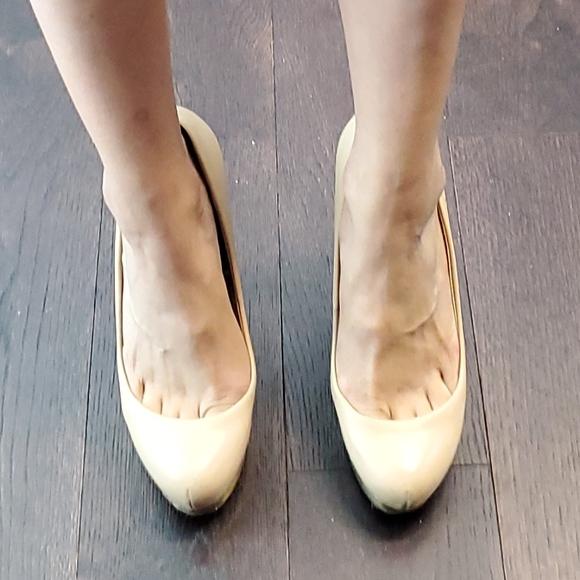 ZARA WOMAN Beige Nude Leather Gold Mirror Pumps